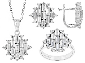 White Cubic Zirconia Rhodium Over Sterling Silver Jewelry Set 8.98ctw