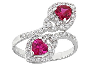 Red And White Cubic Zirconia Rhodium Over Sterling Silver Ring 2.43ctw