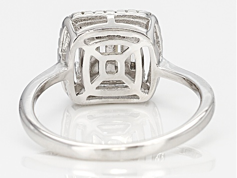 White Cubic Zirconia Rhodium Over Silver Ring 1.13ctw.