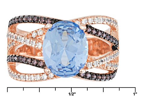 Blue Brown And White Cubic Zirconia 18k Rg Over Silver Ring 2.89ctw