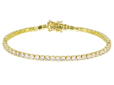 White Cubic Zirconia 18k Yellow Gold Over Silver Bracelet 9.58ctw