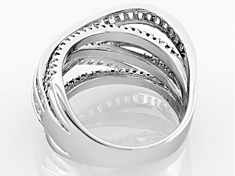 White Cubic Zirconia Rhodium Over Sterling Silver Ring 3.81ctw
