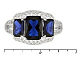 Blue And White Cubic Zirconia Rhodium Over Silver Ring 4.21ctw