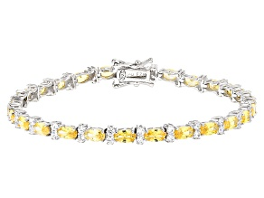 Yellow And White Cubic Zirconia Rhodium Over Sterling Silver Bracelet 11.62ctw