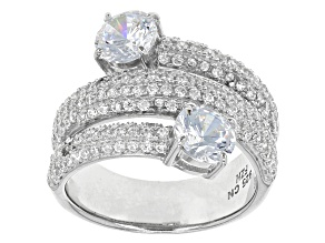 White Cubic Zirconia Rhodium Over Silver Ring 4.18ctw