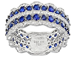 Blue And White Cubic Zirconia Rhodium Over Silver Ring 3.03ctw