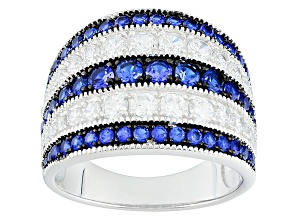 Blue And White Cubic Zirconia Rhodium Over Silver Ring 3.15ctw