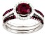 Red And White Cubic Zirconia Rhodium Over Silver Ring With Bands 2.21ctw