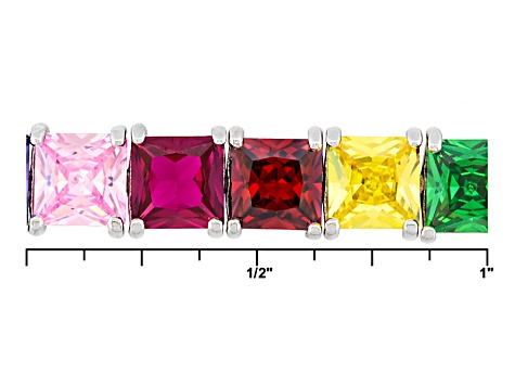Blue/Purple/Pink/Red/Yellow/Green Cubic Zirconia Rhodium Over Silver Bracelet 37.95ctw
