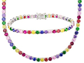 Blue/Purple/Pink/Red/Yellow Cubic Zirconia/green nanocrystal Rhod Over Silver Bracelet 61.76ctw