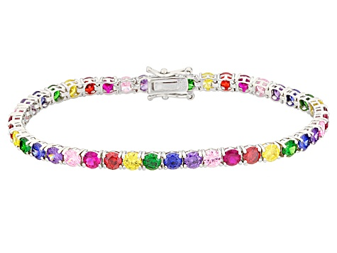 Blue/Purple/Pink/Red/Yellow Cubic Zirconia/green nanocrystal Rhodium Over Silver Bracelet 61.76ctw