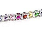 Multi-Color Gemstone Simulants Rhodium Over Sterling Silver Tennis Bracelet 24.78ctw
