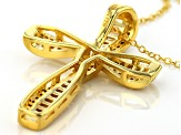 White Cubic Zirconia 18k Yellow Gold Over Silver Cross Pendant With Chain 2.34ctw