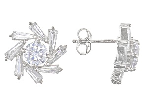 White Cubic Zirconia Rhodium Over Silver Earrings 4.67ctw