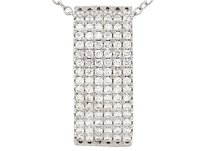White Cubic Zirconia Rhodium Over Sterling Silver Pendant With Chain .86ctw