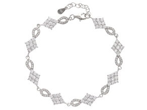 White Cubic Zirconia Rhodium Over Sterling Silver Bracelet 5.36ctw