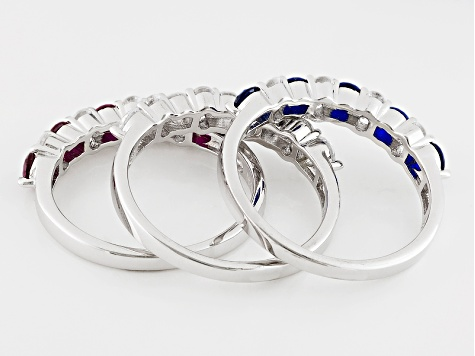 Blue Red And White Cubic Zirconia Rhodium Over Sterling Silver Rings 3.93ctw