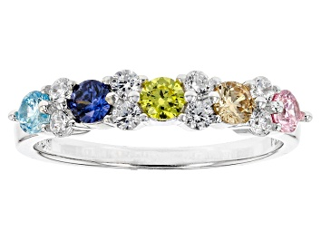 Picture of Blue, Yellow, Brown, Pink, White Cubic Zirconia Rhodium Over Sterling Silver Ring 1.31ctw
