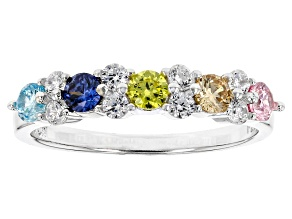 Blue, Yellow, Brown, Pink, White Cubic Zirconia Rhodium Over Sterling Silver Ring 1.31ctw