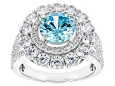 Blue And White Cubic Zirconia Rhodium Over Sterling Silver Ring 6.28ctw