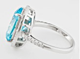 Blue And White Cubic Zirconia Rhodium Over Silver Ring 9.95ctw