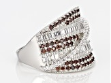 White And Brown Cubic Zirconia Rhodium Over Silver Ring 2.89ctw