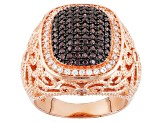 Brown And White Cubic Zirzonia 18k Rg Over Silver Ring 1.16ctw