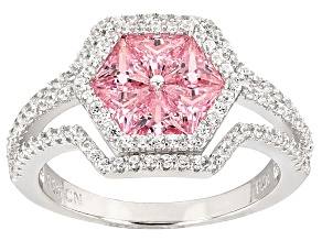 Pink And White Cubic Zirconia Rhodium Over Sterling Silver Ring 3.23ctw