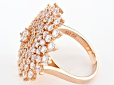 White Cubic Zirconia 18k Rose Gold Over Sterling Silver Ring 5.03ctw