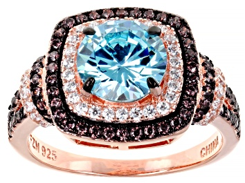 Picture of Blue Brown And White Cubic Zirconia 18k Rose Gold Over Sterling Silver Ring 4.32ctw
