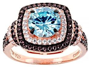 Blue Brown And White Cubic Zirconia 18k Rg Over Sterling Silver Ring 4.31ctw