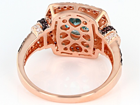 Blue Brown And White Cubic Zirconia 18k Rose Gold Over Sterling Silver Ring 4.31ctw