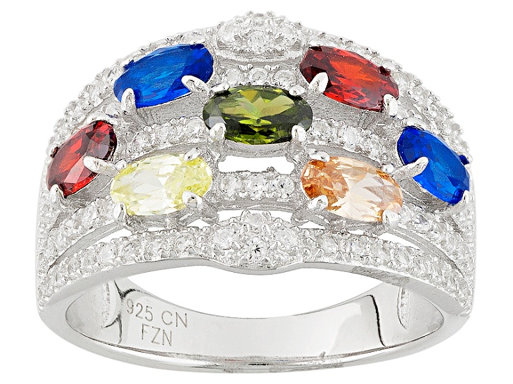 White Blue Red Brown And Green Cubic Zirconia Rhodium Over Silver Ring  3 11ctw