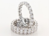 White Cubic Zirconia Rhodium Over Sterling Silver Ring With Bands 13.21ctw