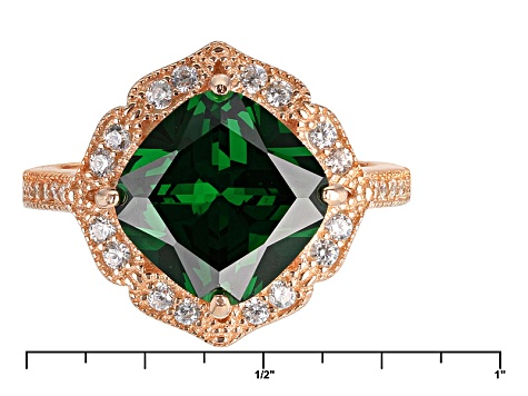Green And White Cubic Zirconia 18k Rg Over Silver Ring 6.73ctw
