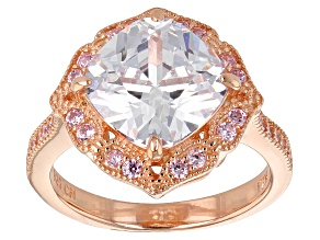 Pink And White Cubic Zirconia 18k Rose Gold Over Sterling Silver Ring 6.73ctw