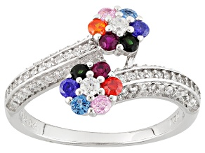 White, Orange, Red, Green, Purple, Blue & Pink Cubic Zirconia Rhodium Over Silver Ring 1.36ctw