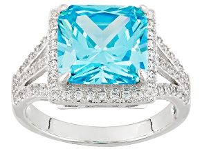 Blue And White Cubic Zirconia Rhodium Over Silver Ring 9.61ctw