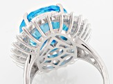 Blue And White Cubic Zirconia Rhodium Over Sterling Silver Ring 24.20ctw