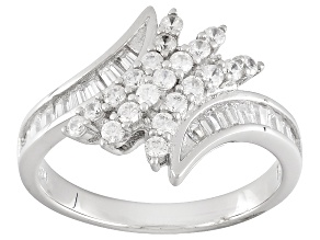 White Cubic Zirconia Rhodium Over Sterling Silver Ring 1.37ctw