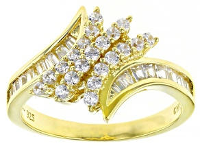 White Cubic Zirconia 18K Yellow Gold Over Sterling Silver Ring 1.37ctw