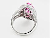 Pink & White Cubic Zirconia Rhodium Over Silver & 18k Rose Gol Over Silver Ring 11.04ctw