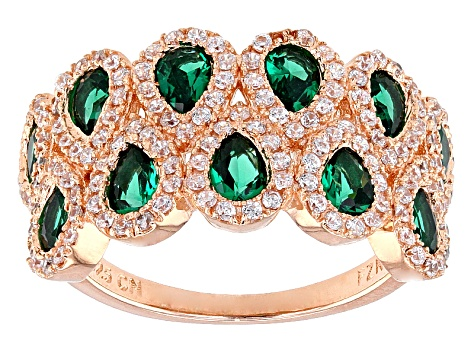 Green And White Cubic Zirconia 18k Rg Over Sterling Silver Ring 2.74ctw