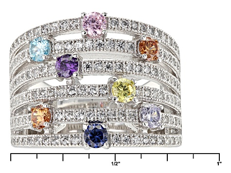 White Blue Brown Purple Pink And Yellow Cubic Zirconia Rhodium Over Silver Ring 2.50ctw