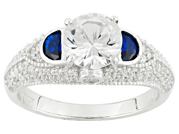 Picture of Blue And White Cubic Zirconia Rhodium Over Silver Ring 3.46ctw