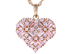 Pink Cubic Zirconia 18k Rg Over Sterling Silver Pendant With Chain 3.99ctw
