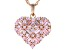 Pink Cubic Zirconia 18k Rose Gold Over Sterling Silver Heart Pendant With Chain 3.99ctw