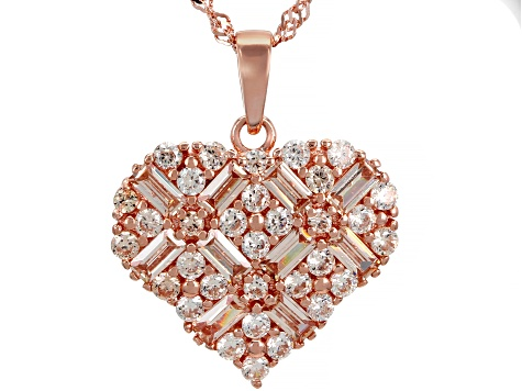 Champagne Cubic Zirconia 18K Rose Gold Over Sterling Silver Heart Pendant With Chain 3.98ctw