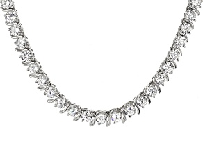 Cubic Zirconia Rhodium Over Sterling Silver Necklace 39.99ctw
