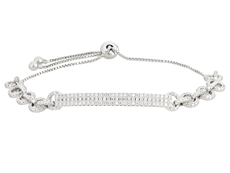 White Cubic Zirconia Rhodium Over Sterling Silver Adjustable Bracelet  2 63ctw